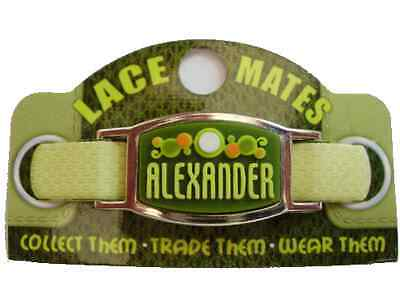 Personalised Named ALEXANDER LACE MATES For Shoelaces Jewellery Making Wristband