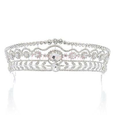 Rhinestone Wedding Bridal Tiara Headband Crystal Pageant Crown Headpieces Tiara