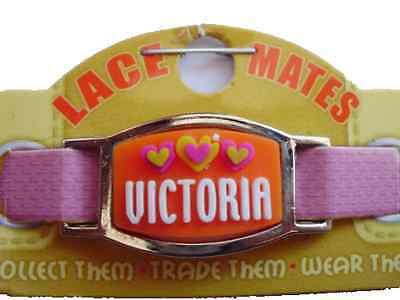 Personalised Named VICTORIA LACE MATES For Shoelaces Jewellery Making Wristband