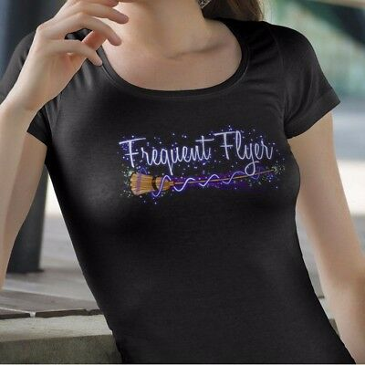 Frequent Flyer Witch Broom Halloween T Shirt - Spooky Humor Party Wiccan Sparkle