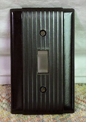 Vintage NOS Hubbell Brown Deco ribbed Bakelite Switch Cover Plates