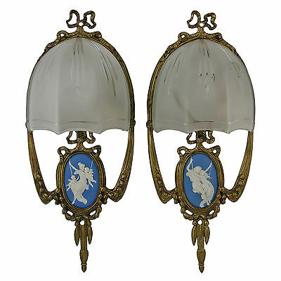Pair Louis XVI Style Bronze Sconces With Jasper Plaques