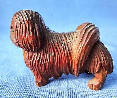 VINTAGE PEKINGESE  Hand Carved Wood Dog Likely Made By Anri Italy
