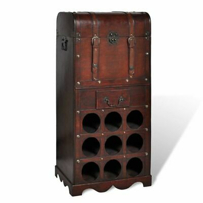 #bNEW Wooden Wine Rack for 9 bottles Storage Trunk with Drawer Plywood Durable