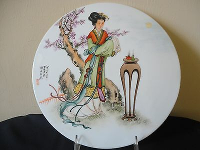 Chinese Handpainted Famille Rose Porcelain Plaque Plate W Seals & Signature
