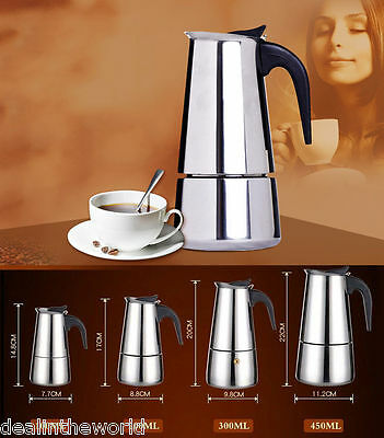 9 cups Percolator Stove Top Coffee Maker Moka Espresso Latte Stainless Steel Pot