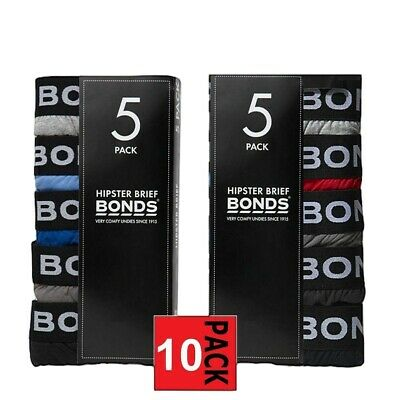 Mens Bonds Elastic Waist Brief 10 Pack Red Blue Hipster Cotton Jocks M8DM5T