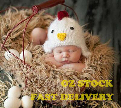 New Arrival Handmade Newborn Baby Photo Costume Prop Outfit Cute Chicken Hat