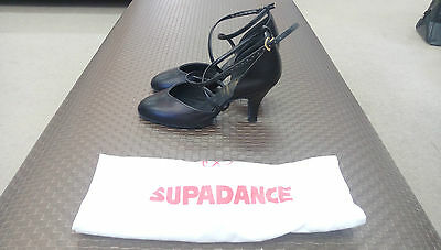 Supadance Black Leather Women's Ballroom Shoes UK size 2