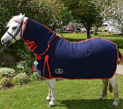 Unicorn Navy Miniature Anti Piling Fleece Combo Horse Rug Small Pony  3'0 to 4'6