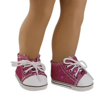 "Pair Sequins Lace Up Canvas Shoes for 18"" American Girl Our Generation Doll"