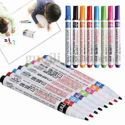 8 Color Set Kids Whiteboard Marker Non Toxic Dry Erase Easy Wipe Bullet Tip Pens