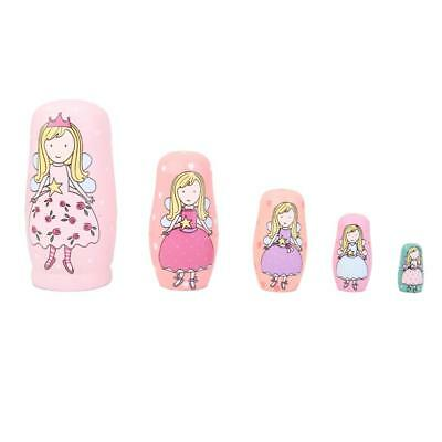 5pc Pink Angle Wooden Russian Nesting Babushka Matryoshka Dolls Hand Painted