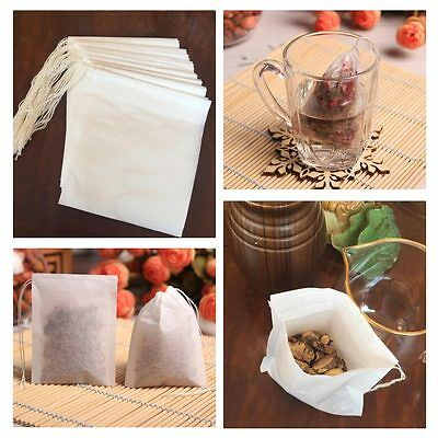 100pcs Filter Paper Drawstring Bags for Herbs Tea Cooking Soup Spice
