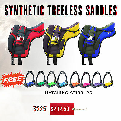All Purpose Synthetic Treeless Saddles w/  Free Stirrups Matching Color Treads