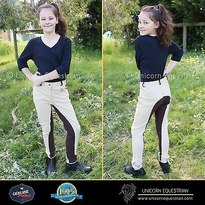 Two Tone Kids Jodhpurs Breeches Beige n Brown Self Seat Knee Patch Sizes 6-14