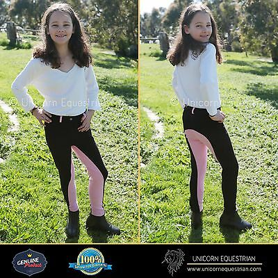 Two Tone Kids Jodhpur Breeches Black n Pink Self Seat Knee Patch Sizes 6-14