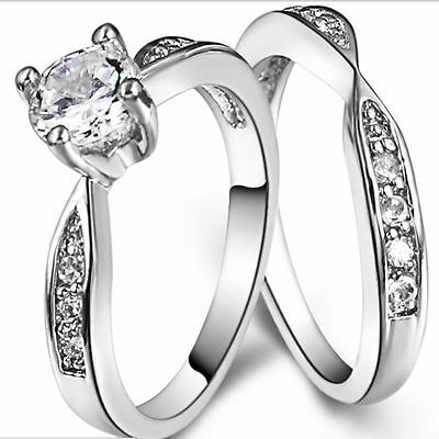 Size I-W 925 Sterling Silver Ring Wedding Engagement Halo Bridal Anniversary UK