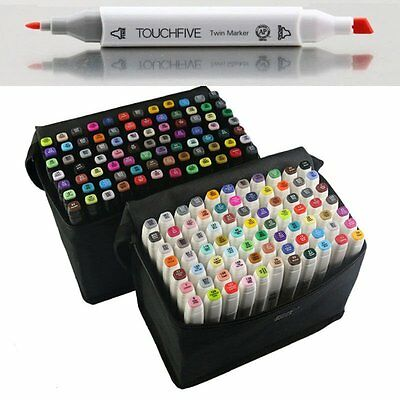 80 Color Twin Tip Pen Marker Touch Five Art Sketch Graphic Markers Drawing+Bag