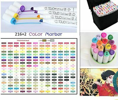 218 Colors Twin Tip Pen Touch Seven Graphic Markers Sketch Art Broad Fine Point