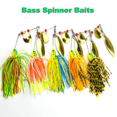 Fishing Lures Mixed Color Pike Bass Buzz Spinner Bait Sharp Hooks Tackle 16.3g