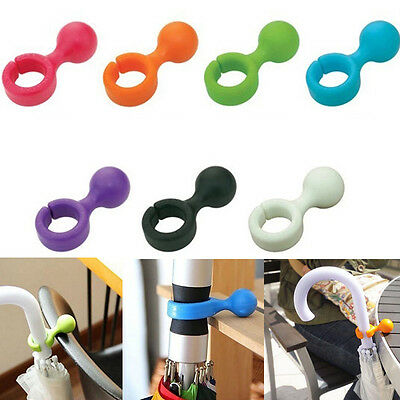 Trendy 2Pcs Plastic Handy Mini Umbrella Hanger Holder Stand Support Rack Hooks