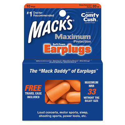 Mack's Maximum Noise Protection Soft Foam Earplugs for Work, Concerts (10 Pair)