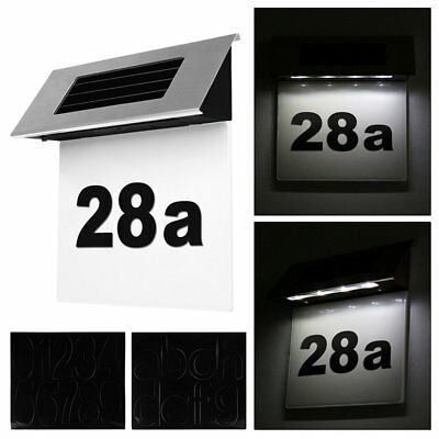 Modern Solar Powered 4LED Home House Door Number Outdoor Fence Wall Plaque Light