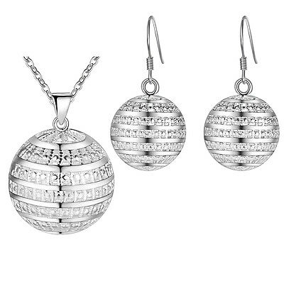 Hot Women 925 STERLING SILVER Girl ball earrings necklace jewelry gift sets
