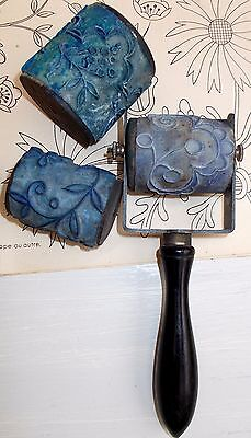 Large Antique French Embroidery Printing Roller Handle & 3 Barrel Rollers (4414b