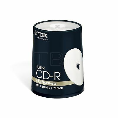 100 TDK CD-R 80min 700MB White Inkjet Printable CDR Spindle T19884 white top