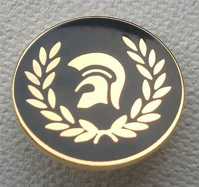 Skinhead Ska Reggae Badge - Trojan Laurel Head - Black - Gold - 16Mm Dia