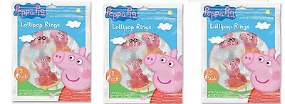 3 PACK - Peppa Pig Lollipop Candy Ring Pop Great for Kids Birthday Party Favors