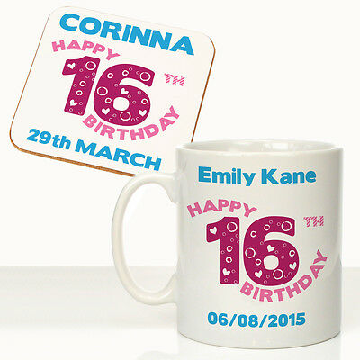 Girls Personalised 16th Birthday Mug Coaster Set Daughters Nieces Gift Idea