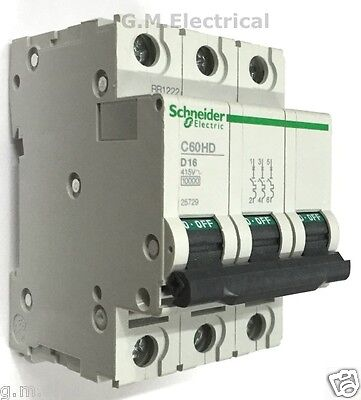 Schneider 16 Amp Type D 16A Triple Pole Mcb 3 Phase C60Hd316 Merlin Gerin 25729
