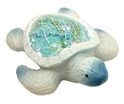 "5.5"" Long Ocean Sea Turtle Decorative Resin Figurine With Crushed Glass Shell"