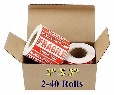 2x3 Fragile Stickers Handle with Care Thank You Shipping Mailing Labels 500/Roll