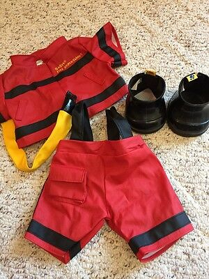 Build A Bear Red Fireman Outfit with Black Boots
