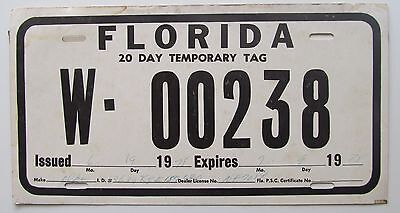 FLORIDA 1975 TEMPORARY 20 DAY TAG License Plate NICE QUALITY # W-00238