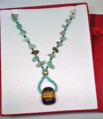 Amazon Stone tiger Eye Necklace contains blessed by John of God Casa Crystal Gem