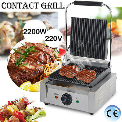 NEW Commercial Panini Machine, Contact Grill Toaster, Sandwich Maker flat/ribbed