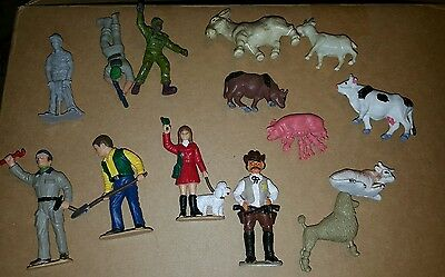 Vintage lot of plastic toy animals and people