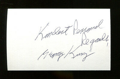 George King Signed Index Card 3x5 Autographed Nationals Purdue Coach HOF 22235