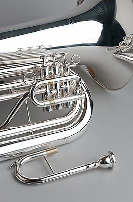 BBb TEMPEST MARCHING TUBA 4/4 FULL SIZE LARGE BELL SILVER PLATED ERGONOMIC