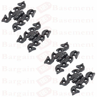 4 X Black Cast Iron Antique Vintage Cabinet Cupboard Butterfly Snake Hinges