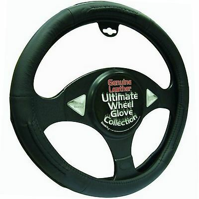 Black 100% Leather Steering Wheel Cover - Universal 37cm - 39cm