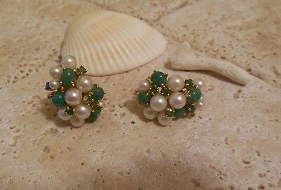 14k Yellow Gold Cultured PEARL Jade EMERALD Omega Cluster Earrings Gift Idea!