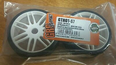 2 pair/4 tires grp gth01-s7 1:8 medium hard white spoked kyosho inferno 17mm