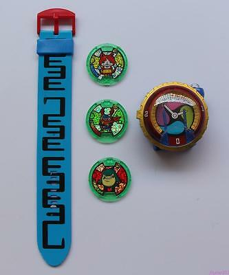 DX YoKai Watch Yo-kai Watch with 3 medals kids watch Blue Color Kids Gift