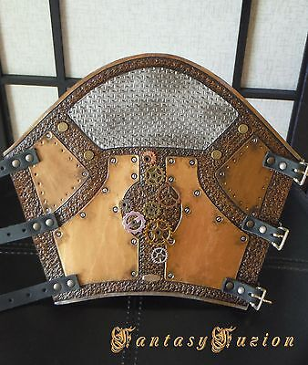 Steampunk Post-Apocalyptic Cyber Android Fake Metal Plate Leather SINGLE Bracer